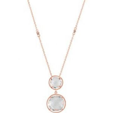"""14K Rose Gold-Plated Sterling Silver Clear Quartz 17"""" Necklace"""