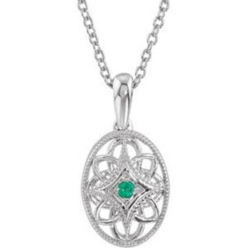 """Sterling Silver Emerald 18"""" Necklace"""