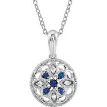 """Sterling Silver Blue Sapphire & .03 CTW Diamond 18"""" Necklace"""