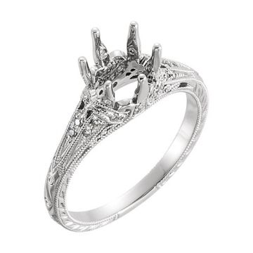 14k White Gold Diamond Semi-mounting Engagement Ring