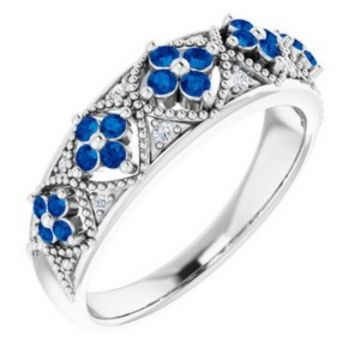 Sterling Silver Sapphire & .05 CTW Diamond Ring Size 7