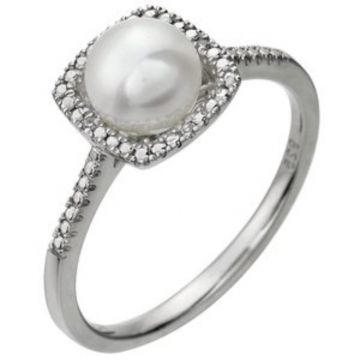 Sterling Silver Cultured Freshwater Pearl & .01 CTW Diamond Ring Size 7