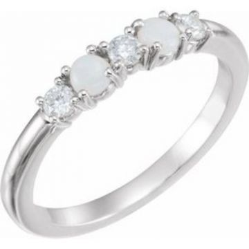 Sterling Silver Opal & 1/5 CTW Diamond Stackable Ring