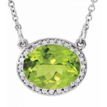 "14K White Peridot &.05 CTW Diamond 16.5"" Necklace"