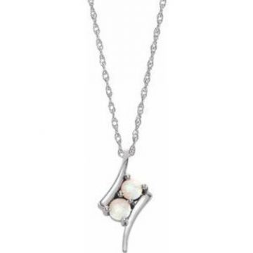 """Sterling Silver Opal Two-Stone 16-18"""" Necklace"""