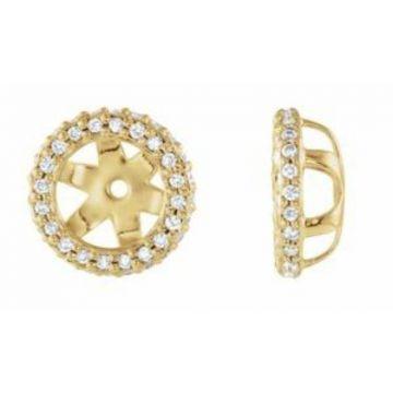 14K Yellow 1/5 CTW Diamond Earrings Jackets with 5.5 mm ID