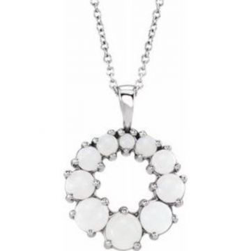 """Sterling Silver Opal Halo-Style 18"""" Necklace"""