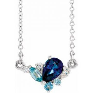 "Sterling Silver Imitation Multi-Gemstone & .06 CTW Diamond 18"" Necklace"