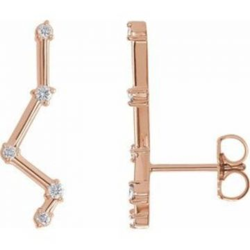14K Rose 1/10 CTW Diamond Constellation Earring Climbers