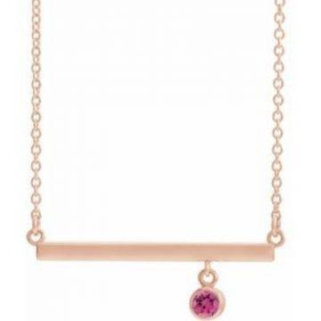 "14K Rose Pink Tourmaline Bezel-Set 18"" Bar Necklace"