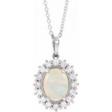 """14K White Ethiopian Opal & 1/3 CTW Diamond Halo-Style 16-18"""" Necklace"""