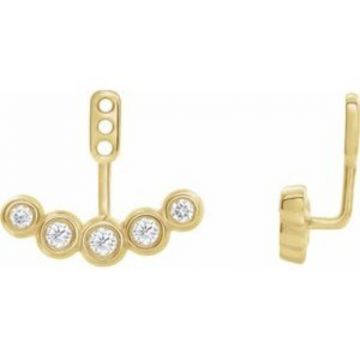 14K Yellow 1/4 CTW Diamond Curved Front-Back Earring Jackets