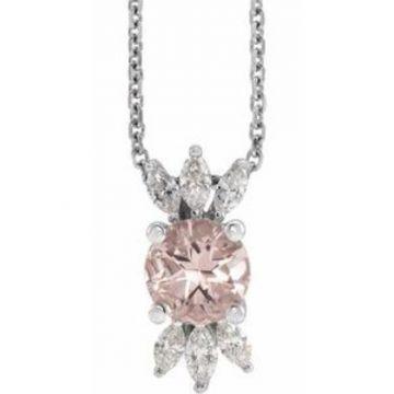 "14K White Pink Morganite & 1/4 CTW Diamond 16-18"" Necklace"