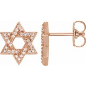 14K Rose 1/8 CTW Diamond Star of David Earrings