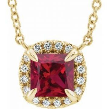 """14K Yellow 4x4 mm Square Ruby & .05 CTW Diamond 18"""" Necklace"""