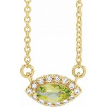 "14K Yellow Peridot & .05 CTW Diamond Halo-Style 18"" Necklace"