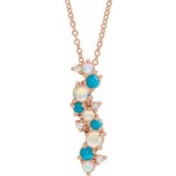 "14K Rose Ethiopian Opal Turquoise & .03 CTW Diamond 16-18"" Necklace"