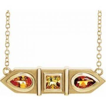 "14K Yellow Multi-Gemstone Geometric Bar 18"" Necklace"
