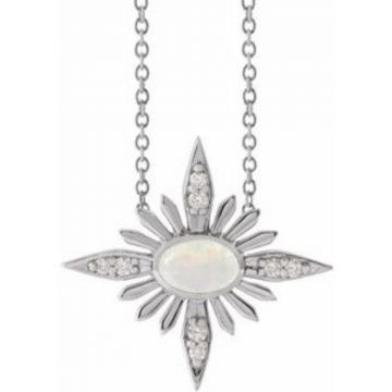 "Sterling Silver Ethiopian Opal & .08 CTW Diamond Celestial 16-18"" Necklace"