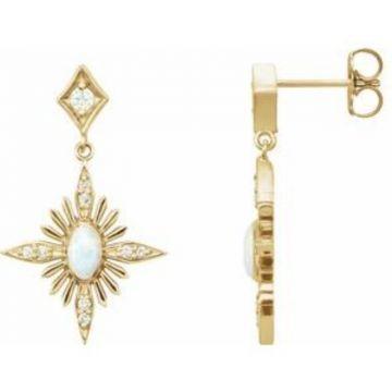 14K Yellow Australian Opal & 1/6 CTW Diamond Celestial Earrings