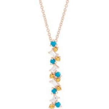 "14K Rose Honey Passion Topaz, Turquoise & 1/8 CTW Diamond Scattered Bar 16-18"" Necklace"