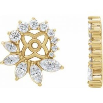 14K Yellow 7/8 CTW Diamond Earring Jackets with 6 mm ID