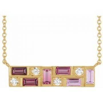 "14K Yellow Pink Multi-Gemstone & 1/8 CTW Diamond Bar 18"" Necklace"