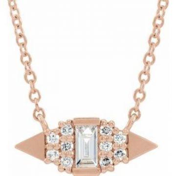 "14K Rose 1/6 CTW Diamond Semi-Set Geometric 18"" Necklace"