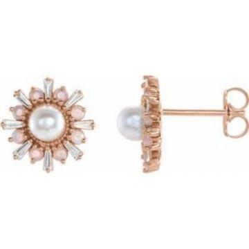 14K Rose Akoya Pearl, White Opal & 1/6 CTW Diamond Earrings