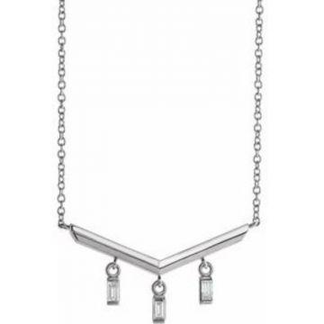 "14K White 1/8 CTW Diamond V Bar 18"" Necklace"