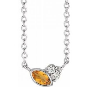 "Sterling Silver Citrine & .03 CTW Diamond 16"" Necklace"