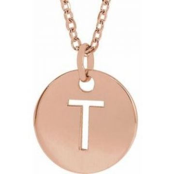 "18K Rose Gold-Plated Sterling Silver Initial T 10 mm Disc 16-18"" Necklace"