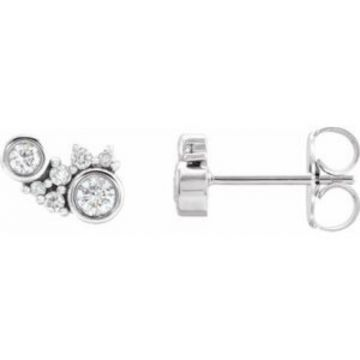 Platinum 1/4 CTW Diamond Scattered Bezel-Set Earrings