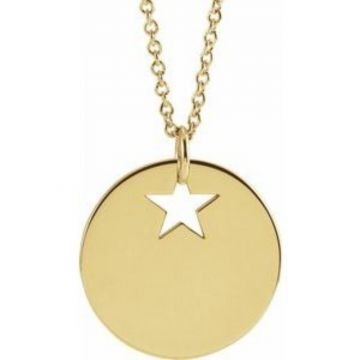 "14K Yellow Pierced Star 15 mm Disc 16-18"" Necklace"