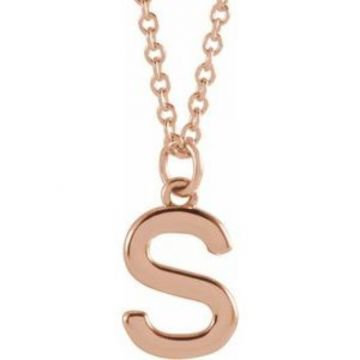 "18K Rose Gold-Plated Sterling Silver Initial S Dangle 18"" Necklace"
