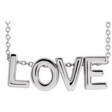 "Sterling Silver Love 16-18"" Necklace"