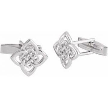 Sterling Silver 16.2x12.2 mm Celtic-Inspired Cuff Links