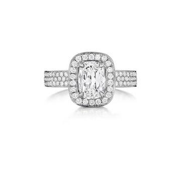 Henri Daussi 18K White Gold .75ct. Signature Daussi Halo Cushion Diamond Engagement Ring
