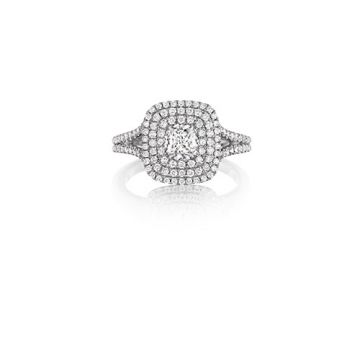 Henri Daussi 18K White Gold 0.90ct. Signature Daussi Cushion Cut Diamond Engagement Ring