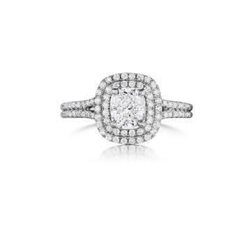 Henri Daussi 18K White/Rose Gold Diamond Halo Engagement Ring