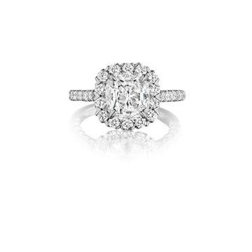 Henri Daussi 18K White Gold 1.05ct Signature Daussi Cushion Cut Diamond Engagement Ring