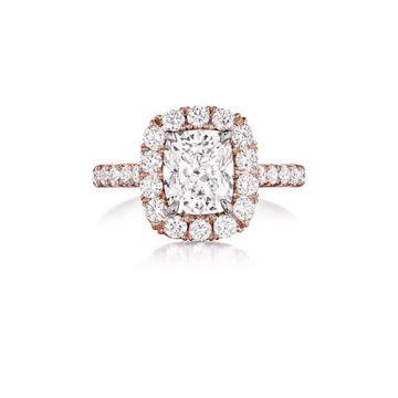 Henri Daussi 14K White Gold 1.69ctw Diamond Halo Engagement Ring
