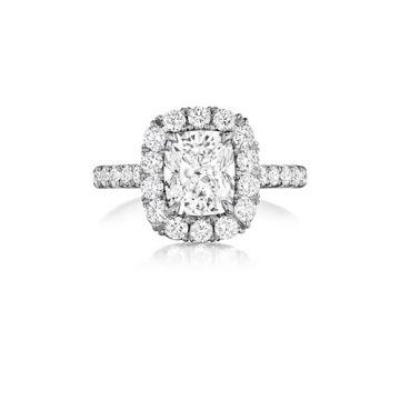 Henri Daussi 18K White Gold .75ct. Signature Daussi Cushion Cut Diamond Engagement Ring