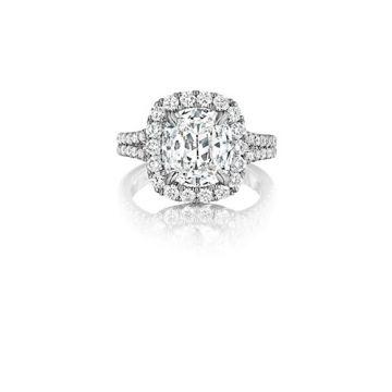 Henri Daussi 18K White Gold .85ctw Diamond Halo Engagement Ring
