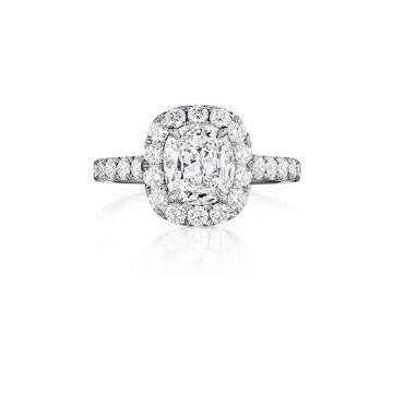 Henri Daussi 18K White Gold 1.15ctw Diamond Halo Engagement Ring