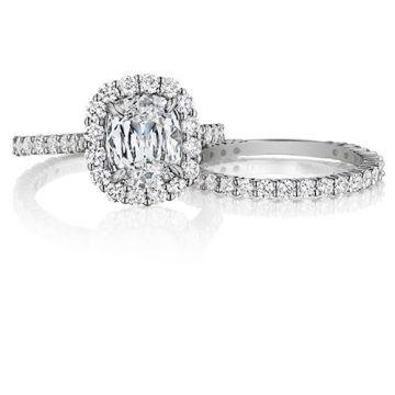 Henri Daussi 18K White Gold 1.45ctw Diamond Halo Engagement Ring