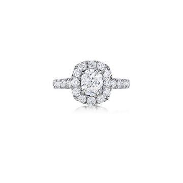 Henri Daussi 18K White Gold 1.77ctw Diamond Halo Engagement Ring