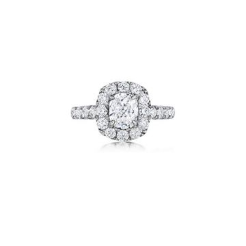 Henri Daussi 18K White Gold 1.71ctw Diamond Halo Engagement Ring