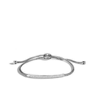 John Hardy Silver Classic Chain Women's Diamond Station Bracelet