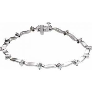 14K White 1 CTW Diamond Line Bracelet